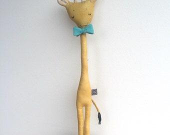 ALISTAIR the GIRAFFE in Yellow Polka Dot Quilting, Soft Sculpture, Linen Doll, Art Doll