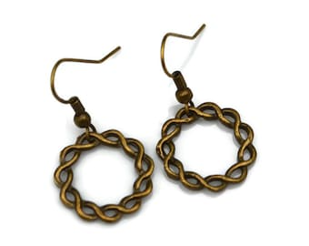Antiqued Brass Twisted Hoops . Earrings