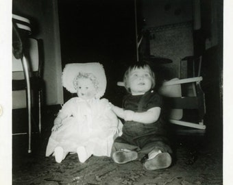 "Vintage Photo ""Creepy Doll Alert"" Snapshot Old Antique Photo Black & White Photograph Found Paper Ephemera Vernacular - 173"
