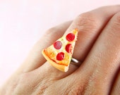 Miniature Food Jewelry - Pizza Ring - Engagement ring - Novelty Ring - Pizza Jewelry