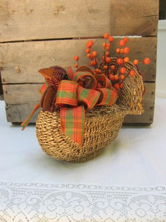 Rustic turkey centerpiece fall decor harvest