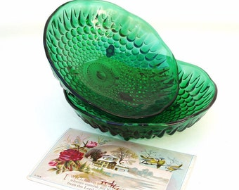 Vintage Green Glass Bowls | Serving Dishes | Compote Bowls | Bubble Glass | Footed Bowls | Anchor Hocking Green