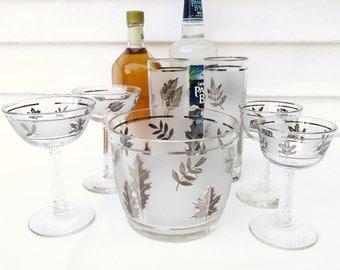 Vintage  Bar Set | Frosted Libbey Glasses | Barware Set | Ice Bucket | Cocktail Glasses | Silver Leaf | Set of 7