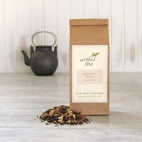 Solstice Spice Black Tea • 4 oz. Kraft Bag • Cinnamon, Orange, Cloves, Cardamom & Apple • Hand Blended Loose Leaf Tea