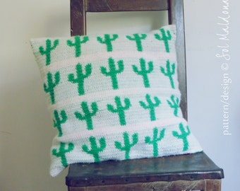 Pillow & Wall Art Tapestry Crochet Pattern Cactus PDF - - Instant DOWNLOAD