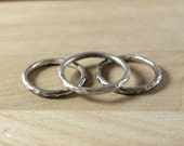 Silver Loop Stacker - Thick Hammered Round Sterling Silver Stacking Ring