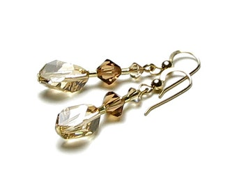 Golden Shadow Swarovski Crystal Earrings Cubist Bead Crystal Neutral Brown Beige Elegant Mother of the Bride Jewelry Timeless Gift For Women