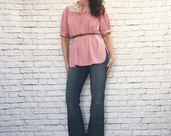 Vintage 70s Pink Peasant Top Sheer Lace Tie Collar Tunic Blouse Puff Sleeve