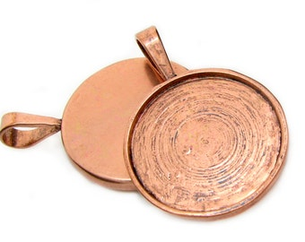 Cabochon Settings : 10 Round Antique Copper Pendant Trays | Bezels ... Holds 25mm Cabochons -- Lead & Nickel Free 13132-5.H2G