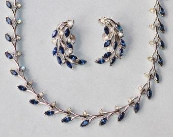 EXQUISITE Designer Sapphire Navy Blue Bogoff Rhinestone Necklace & Earrings,Demi Parure,Crystal Rhinestone Tennis Necklace,Clip On,Silver
