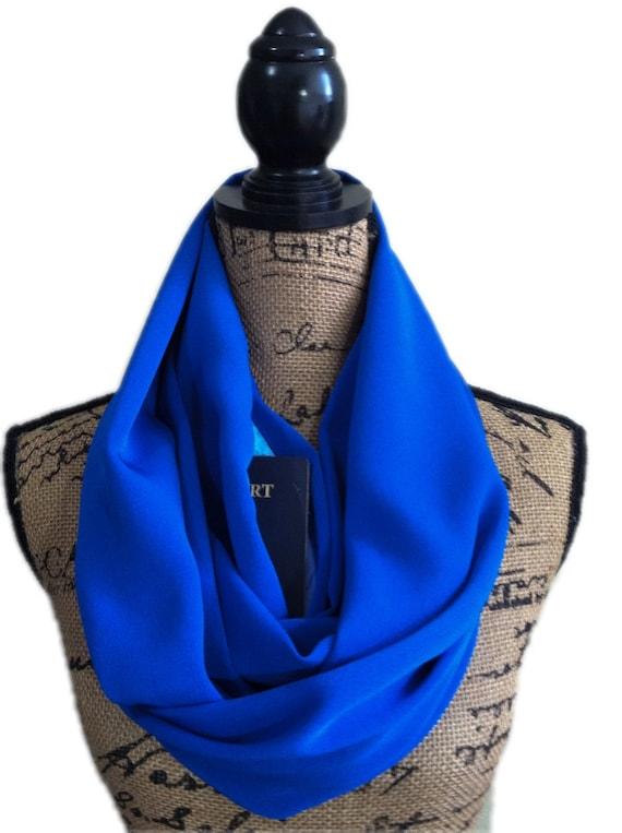 Blue scarf with hidden pocket pocket scarf pocket scarves for Travel scarf