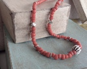 Rustic Coral Red Indonesian Matte Glass Necklace with Hill Tribe Fine Silver Accents and Bali Sterling Clasp
