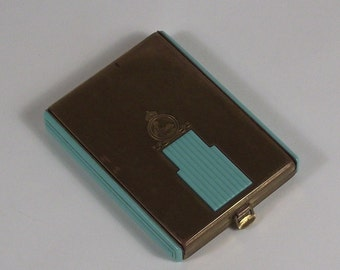 Coty Corsica Compact Turquoise Early Plastic (Bakelite?) and Brass 1920s Hinged with Clasp, Powder & Rouge Double