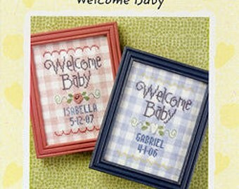 Welcome Baby counted cross stitch patterns : Lizzie Kate Snippet S70 baby boy girl nursery pink blue hand embroidery