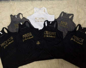 Bachelorette party tank top. Liquor, wine, champagne order. Bar order on shirt. Racerback tanks glitter for the wedding party. Personalized
