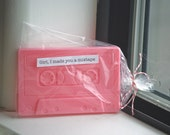 Girl, I made you a mixtape cassette soap tape 80s retro pastel cotton candy pink vegan romantic girlfriend gift valentine's day party favor
