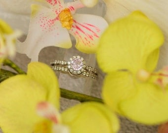 Whisper Pink Sapphire Engagement Ring, Pink Sapphire Vintage Engagement Ring