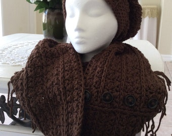 Crocheted slouch hat and infinity scarf
