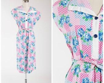 Vintage 1940s Dress • Honest Sonnet • Pink Blue Floral Print Cotton 40s Day Dress Size Medium