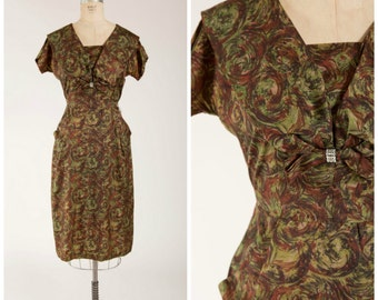 Vintage 1950s Dress • Greenwood Gem • Green Printed 50s Dress with Rhinestone Detail Size Medium