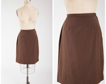 60s Vintage Skirt • Peppy and Bright • Brown Cotton Vintage 1960s Skirt Size Medium