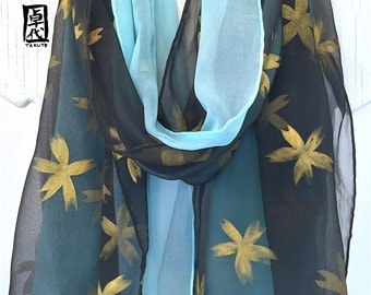 Reversible Silk Scarf Hand Painted, ETSY, Black and Blue Scarf, Black and Gold Kimono Sakura Scarf, Double Layer Chiffon Scarf, 14x72 inches