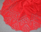 Red Hand Knit Lace Shawl, Knit Lace Wedding Shawl, Womens Hand Knitted Shawl, Hand Knit Lace Shawl in Cherry Red