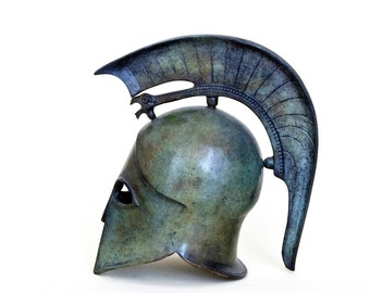 Metal Helmet with Griffin Crest, Ancient Greek Helmet, War Helmet, Bronze Metal Sculpture, Museum Art Replica, Greek Art Decor, Unique Gift