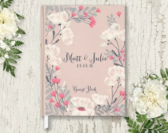 Rustic Wedding Guest Book Wedding Guestbook Custom Guest Book Personalized Wedding Guest Book Custom Guestbook Blush Wedding Guestbook GB106