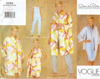 Uncut 1990s Vogue American Designer 2094 Oscar de La Renta Jacket, Dress, Top, Skirt and Pants Sewing Pattern 14-16-18