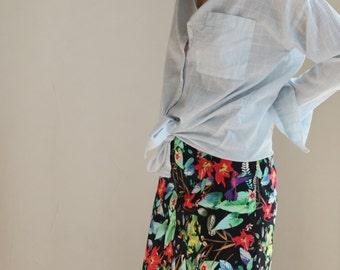fun bright hawaiian floral print handmade couture aline zipper skirt