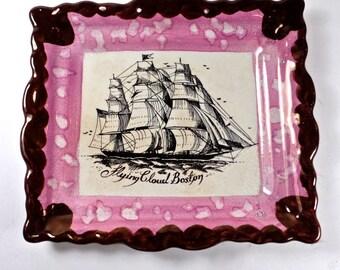 Pink Lustre Maritime Ship Plaque