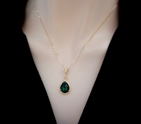 Emerald necklace - Czech glass - Gold filled - Irish jewelry - High quality - May birthstone - Bridal jewelry - Bridesmaids - Best seller -