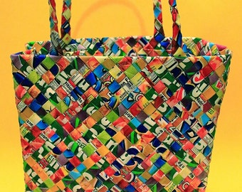 Vintage 90s Recycled Candy Wrapper Handbag Novelty Fun Womens Accessories Rainbow Clueless Club KId