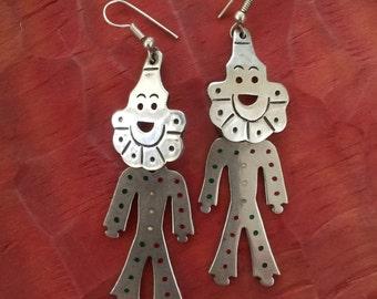 SALE, Vintage 1980's Sterling Silver Clown Earrings, Clown Earrings, Mexican 925 Sterling Silver Jewelry, Clown Jewelry