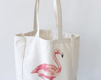 Flamingo Beach Tote Bag Beach Bag Beach Tote Summer Essentials Farmer's Market Tote Summer Bag Flamingo Lovers