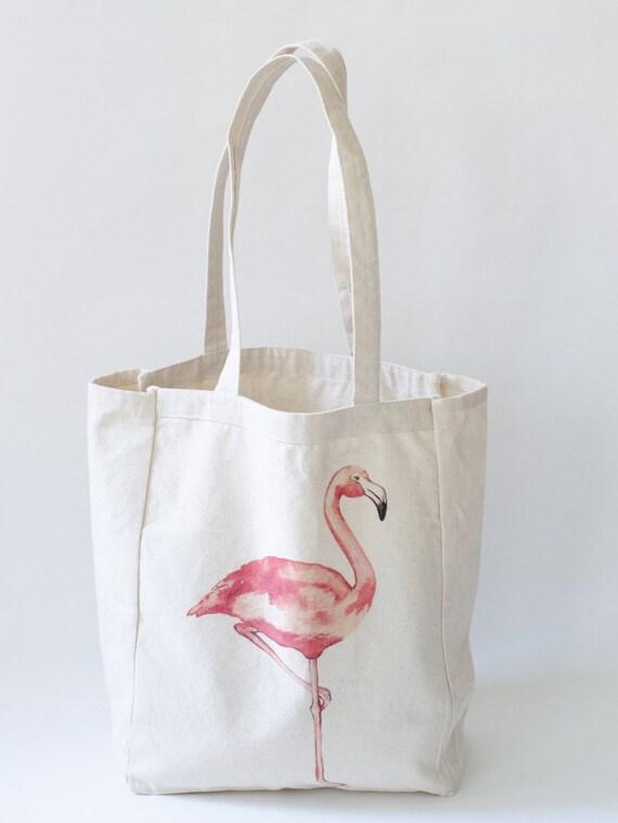 Flamingo Beach Tote Bag Beach Bag Beach Tote Summer Essentials Farmer's Market Tote Summer Bag Flamingo Lovers