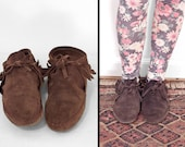Chocolate Suede MOCCASINS 80s Brown Ankle Booties Women's Size 9