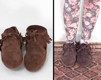 Chocolate Suede MOCCASINS // 1980s Brown Ankle Booties // Women's Size 9