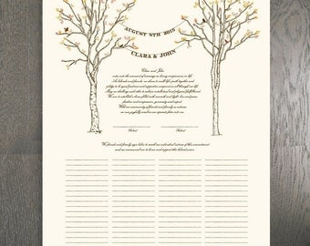 Marriage Certificate - Birch Trees - Fits Standard Frame Size