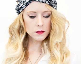 Lace Twist Headband, Black Womens Turban Adult Headband White Workout Headband, Fitness Headband, Boho Stretch Hair Bands, Gift for Her