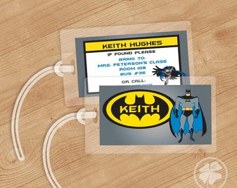 Batman -  Luggage Tag, Bag Tag, Backpack Tag, ID Tags, Personalized, Custom