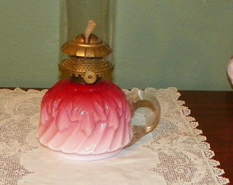 Antique Peach Blow PEACHBLOW Finger Oil LAMP LANTERN Pink Victorian Art Glass