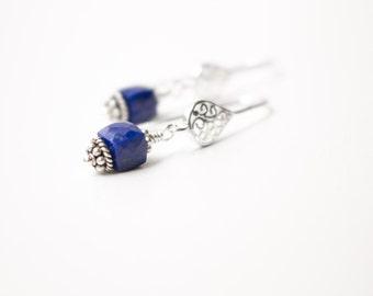 Lapis Lazuli earrings , Sterling Silver Lapis Lazuli earrings , Lapis Earrings , Filigree Teardrop earrings , Denim blue Faceted Lapis