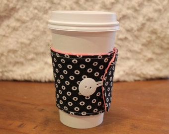 Fabric Coffee Cozy, Black with White Circles, Pink dot, Cozie, Pink, Teal, Iced Coffee, Fabric Coffee Sleeve, travel cup, to-go MUG