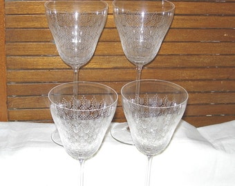 4 Rosenthal Studio Linie Line Motif Romance II Stem Red Wine Crystal Etched Glass Signed