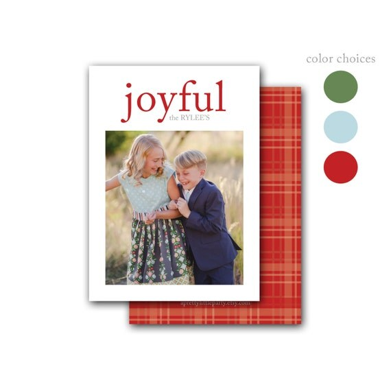 Joyful Plaid Christmas Photo Card - Joy Holiday Cards - Printed Double Sided