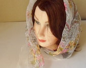 Floral Neck Scarf from Italy, Silk Chiffon Italian Scarf with Delicate Flowers, Nylon Head Scarf