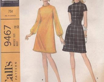 60s Mini Dress Pattern McCalls 9467 Size 14 Uncut