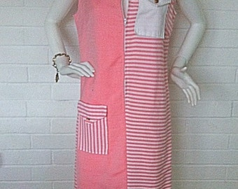 1960's Pink Two-Tone Striped Nautical Tank Shift Dress - Pocket Accent